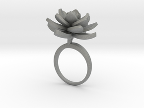 Lotus ring with one large flower in Gray PA12: 7.25 / 54.625