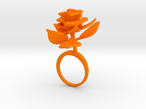 Rose ring with one large flower II in Orange Processed Versatile Plastic: 7.25 / 54.625