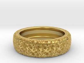 Rose Pattern Engraved Ring Size 3 in Polished Brass: 3 / 44