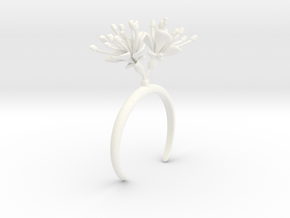 Cherry bracelet with two large flowers R in White Processed Versatile Plastic: Medium