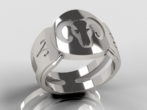 Aries Signet Ring Lite in Polished Silver: 10 / 61.5