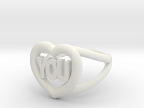 I love you ring in White Natural Versatile Plastic
