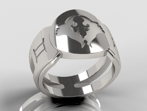 Gemini Signet Ring Lite in Polished Silver: 10 / 61.5