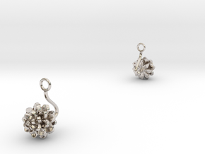 Dhalia earring with one medium flower in Rhodium Plated Brass