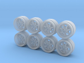 M7 Rebarreled look 8-55 1/64 Scale Wheels in Smooth Fine Detail Plastic