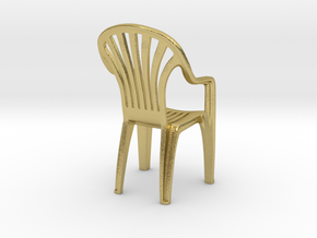 Plastic chair Pendant/miniature (37mm) in Natural Brass