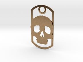 Skull dog tag in Natural Brass