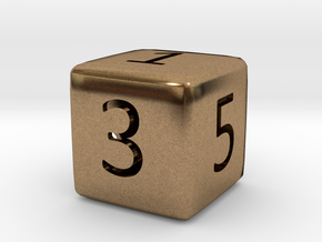 Numeric Dice in Natural Brass