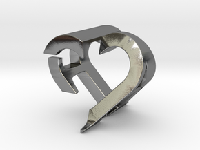 Love Couple Pendant A&F in Polished Silver