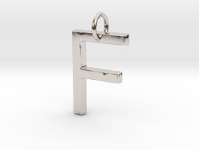 F Pendant- Makom Jewelry in Rhodium Plated Brass