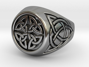 Celtic signet ring in Antique Silver