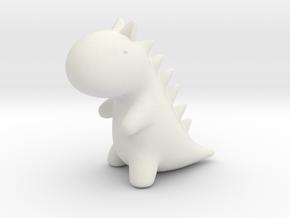 Little Dino (L) in White Natural Versatile Plastic