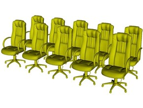 1/64 scale office chairs set A x 10 in Smoothest Fine Detail Plastic