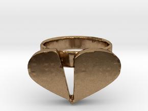 Broken Heart Ring in Natural Brass