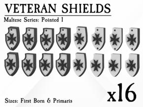 16X Veteran shields. Black Templar, Point 1 in Smooth Fine Detail Plastic: Small