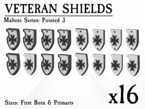 16X Veteran shields. Black Templar, Point 3 in Smooth Fine Detail Plastic: Small