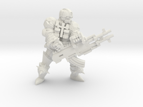 Combat Monk Machinegunner in White Natural Versatile Plastic