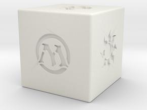 Magic the Gathering Mana D6 die 14mm Sharp in White Natural Versatile Plastic