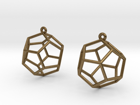 Dodecahedron Earrings in Natural Bronze