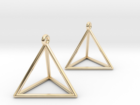 Tetrahedron Earrings in 14K Yellow Gold