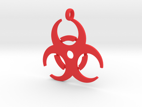 Biohazard necklace charm (simple) in Red Processed Versatile Plastic