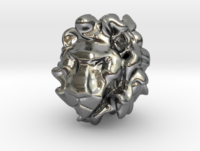 Lion head big hole bead in Polished Silver