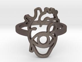 Hearteye Ring  in Polished Bronzed-Silver Steel