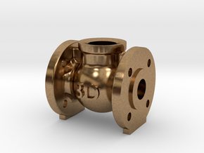 Globe Valve 180 deg. - flange mount in Natural Brass