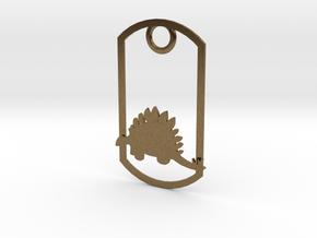 Stegosaurus dog tag in Natural Bronze