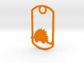 Stegosaurus dog tag in Orange Strong & Flexible Polished