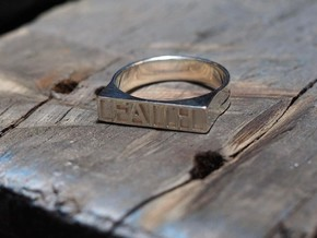 Faith Ring in Fine Detail Polished Silver