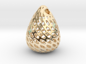 Big Patterned Egg Pendant - Metallic Material in 14K Yellow Gold