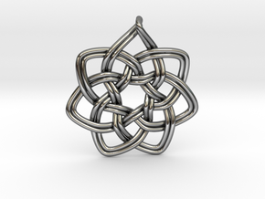 7 pointed woven pendant in Fine Detail Polished Silver