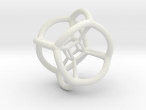 4d Tesseract Bead - Multidimensional Math Art Pend in White Natural Versatile Plastic