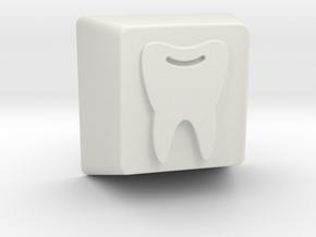 Tooth Keycap - 1U R1 in White Natural Versatile Plastic