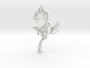 Glass Rose Necklace Pendant in White Natural Versatile Plastic