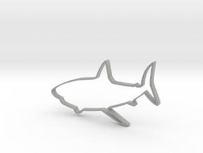 Shark Outline Necklace Pendant in Metallic Plastic