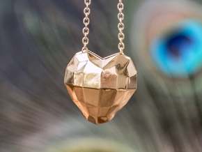 Origami Heart in 14k Gold Plated Brass