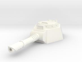 28mm laser cannon turret flat bottom in White Processed Versatile Plastic