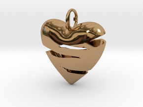 Torn heart of Susanne in Polished Brass