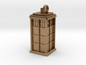 Tardis (T.A.R.D.I.S.) necklace charm in Natural Brass