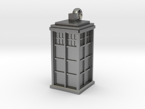 Tardis (T.A.R.D.I.S.) necklace charm in Natural Silver