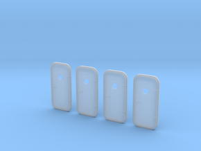 1:48 RH Watertight door - with porthole - 4ea in Smooth Fine Detail Plastic