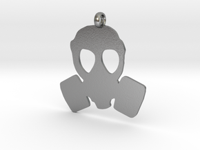 Gas Mask necklace charm in Natural Silver