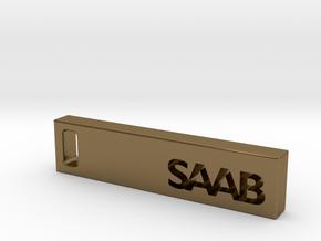 Saab Billet Keychain in Polished Bronze