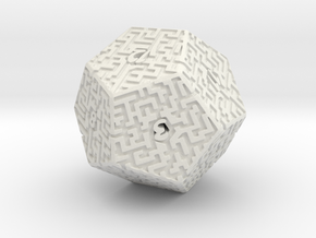 12 Sided Maze Die in White Strong & Flexible