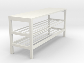 Miniature TJUSIG Bench - IKEA in White Natural Versatile Plastic: 1:12