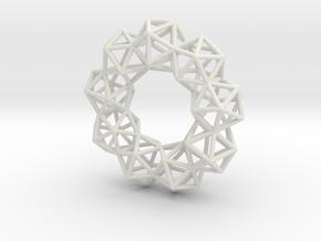 Icosahedron Radial Pendant in White Natural Versatile Plastic