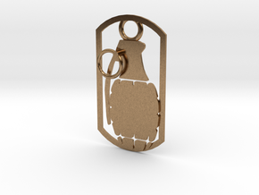 Hand grenade dog tag in Natural Brass