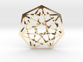 7D Hypercube Pendant in 14K Yellow Gold